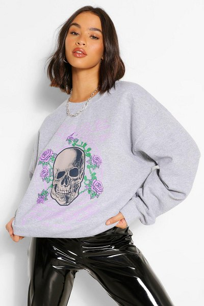 Boohoo Rock And Roses Oversized Sweater in grey marl