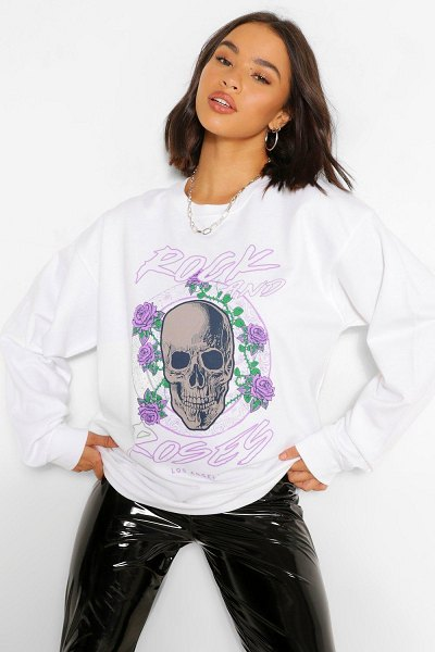 Boohoo Rock And Roses Oversized Sweat in white