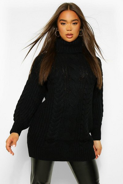 Boohoo Roll Neck Cable Knit Sweater Dress in black