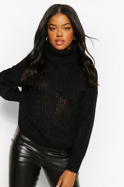 Boohoo Roll Neck Chunky Cable Knit Sweater in black