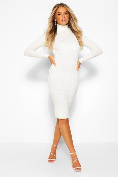 Boohoo Roll Neck Knitted Dress in ivory