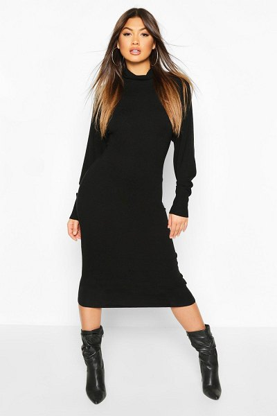 Boohoo Roll Neck Knitted Midi Dress in camel