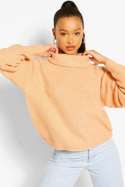Boohoo Roll Neck Sweater in camel