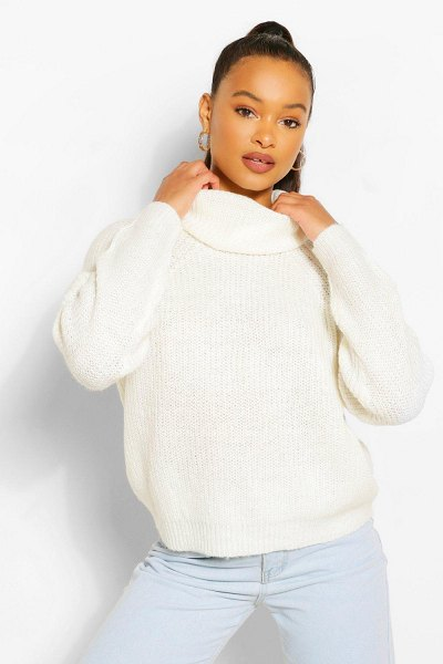 Boohoo Roll Neck Sweater in ivory