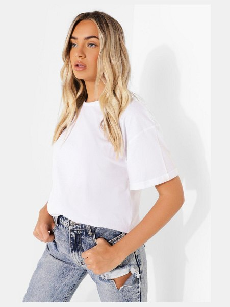 Boohoo Roll Sleeve Oversized Cropped T Shirt in white