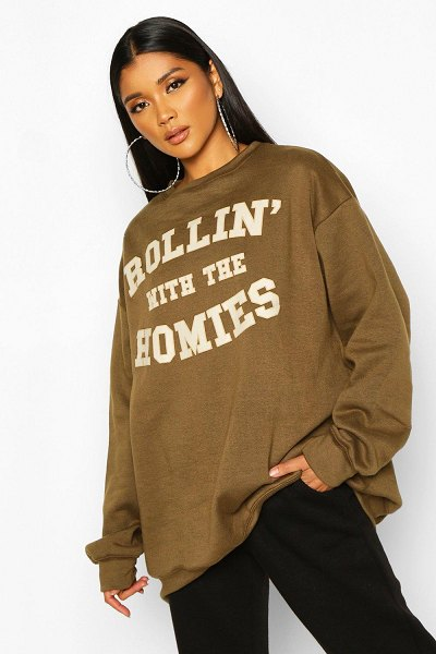 Boohoo Rolling With The Homies Slogan Oversized Sweatshirt in olive