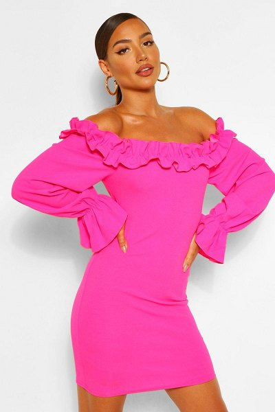Boohoo Rouched Detail Off Shoulder Bodycon Mini Dress in hot pink