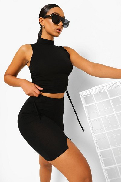 Boohoo Rouched Side High Neck Crop Top in black