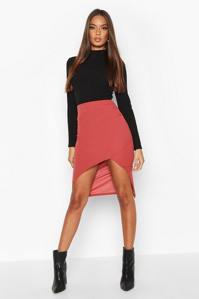 Boohoo Ruched Side Split Front Midi Skirt in terracotta