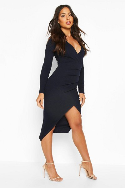 Boohoo Ruched Side Wrap Over Tailored Midi Dress in navy