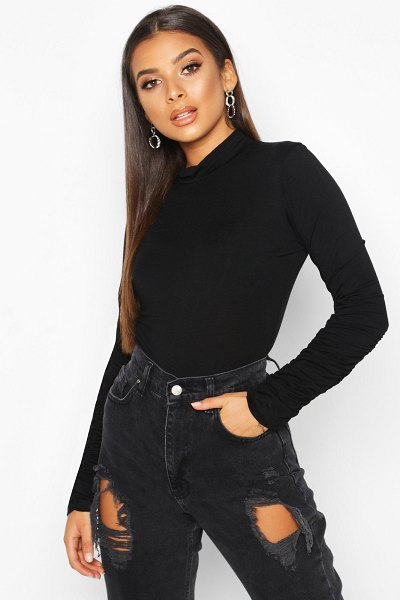 Boohoo Ruched Sleeve High Neck Top in black