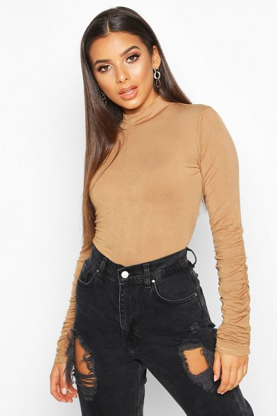 Boohoo Ruched Sleeve High Neck Top in camel