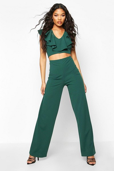 Boohoo Ruffle Detail Crop And Wide Leg Trouser Co-ord in emerald