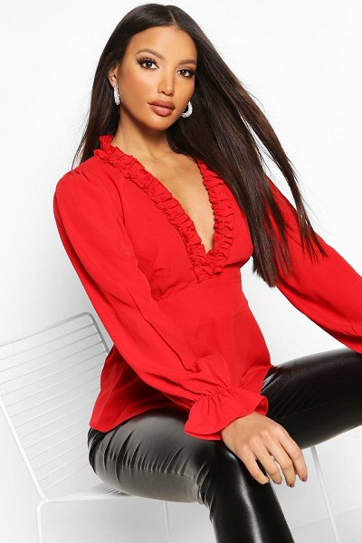 Boohoo Ruffle Detail Open Back Peplum Top in red