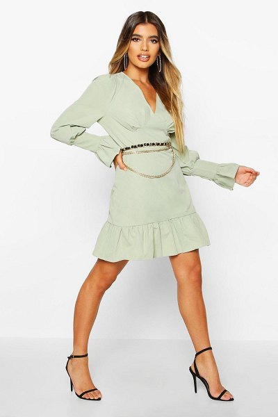 Boohoo Ruffle Detail Plunge Smock Dress in khaki