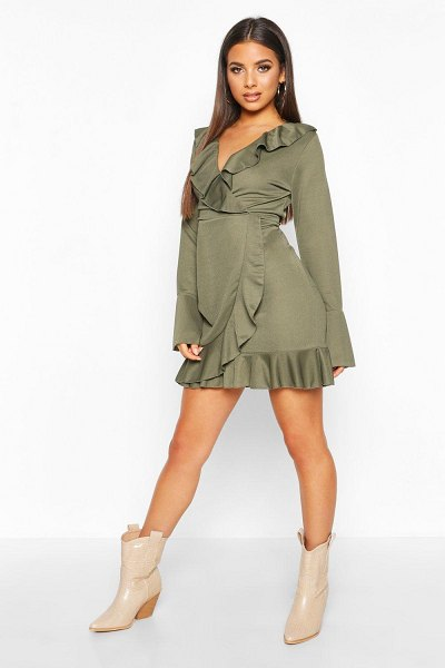 Boohoo Ruffle Detail Tea Dress in khaki