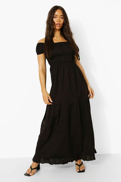 Boohoo Ruffle Strappy Tiered Smock Dress in black