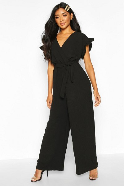 Boohoo Rustle Sleeve Wide Leg Jumpsuit in black