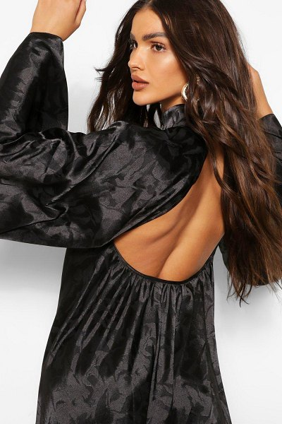 Boohoo Satin Jacquard Backless High Neck Swing Dress in black
