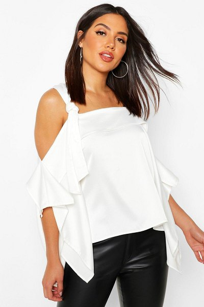 Boohoo Satin Knot Detail Cold Shoulder Top in white