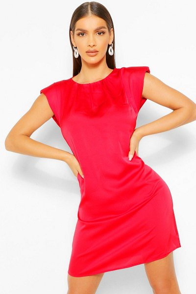 Boohoo Satin Shoulder Pad Shift Dress in red