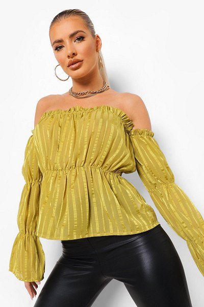 Boohoo Satin Stripe Off The Shoulder Top in chartreuse
