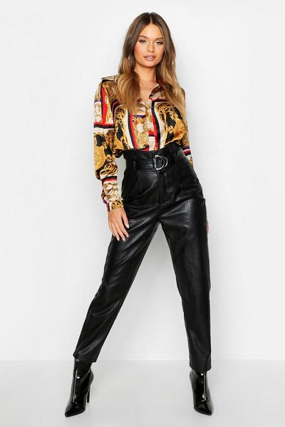 Boohoo Scarf Chain Print Oversized Shirt in black - Steal the style top spot in a statement separate from...