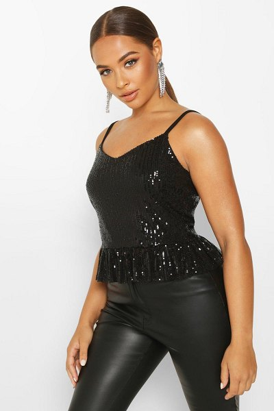 Boohoo Sequin Peplum Cami in black