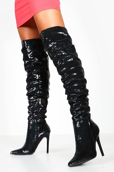 Boohoo Sequin Rouched Knee Boots in black