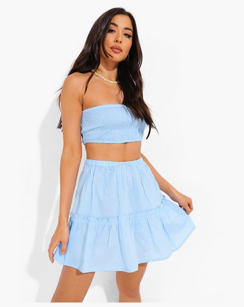 Boohoo Shirred Bandeau And Crop Beach Co-Ord in blue
