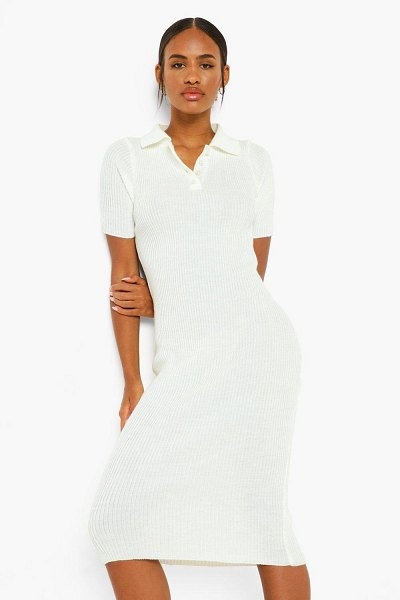 Boohoo Short Sleeve Polo Collar Dress in ivory