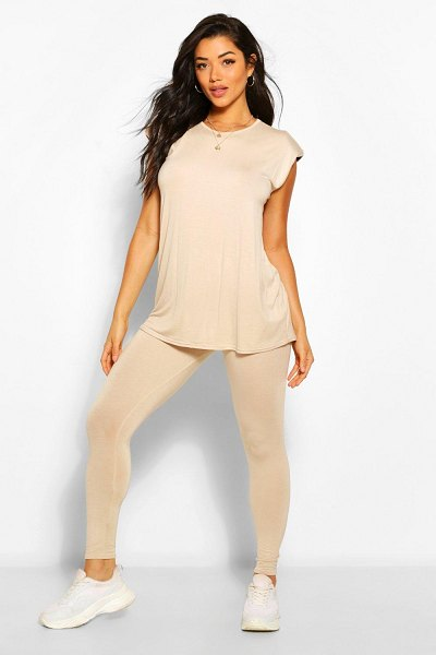 Boohoo Shoulder Pad T-Shirt And Legging Co-Ord in stone