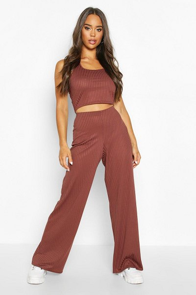 Boohoo Sleeveless Racer Neck Top & Rib Trouser Co-Ord in chocolate