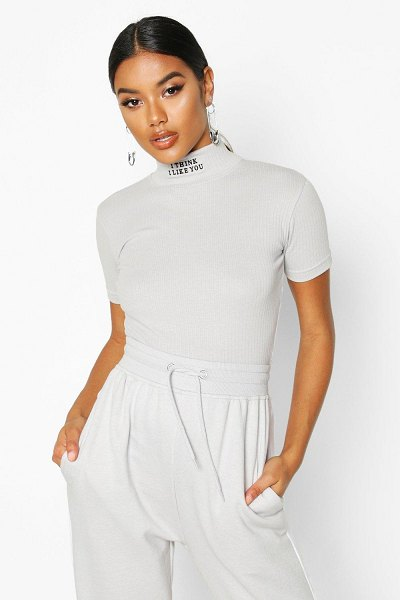 Boohoo Slogan Embroidered High Neck Crop in grey