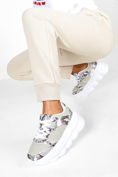 Boohoo Snake Bubble Sole Trainer in grey