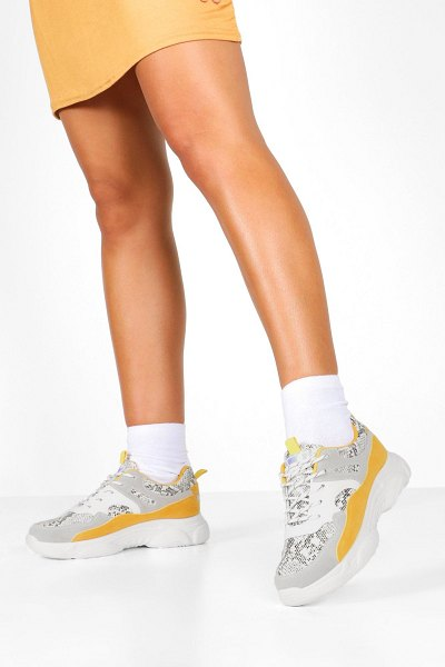 Boohoo Snake Colour Block Chunky Sole Sneakers in grey