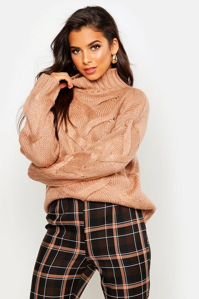 Boohoo Soft Knit Cable Sweater in taupe