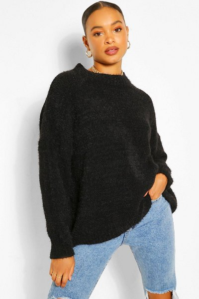 Boohoo Soft Knit Slouchy Oversized Sweater in black