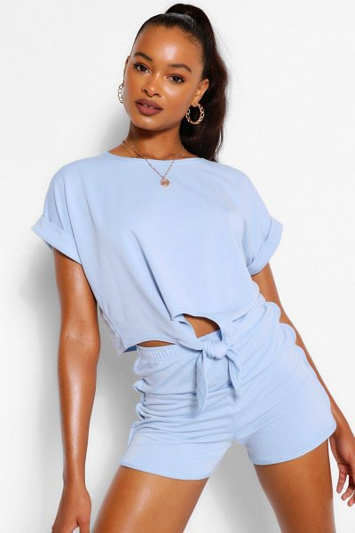 Boohoo Soft Loopback Tie Front Top in blue