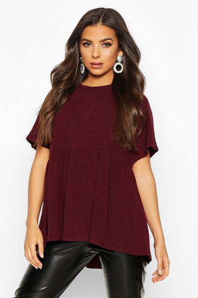 Boohoo Soft Ribbed Smock Top in wine