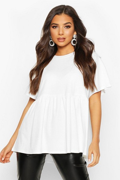 Boohoo Soft Ribbed Smock Top in ivory