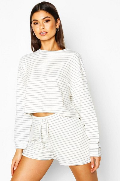 Boohoo Soft Stripe Lounge Short in ecru