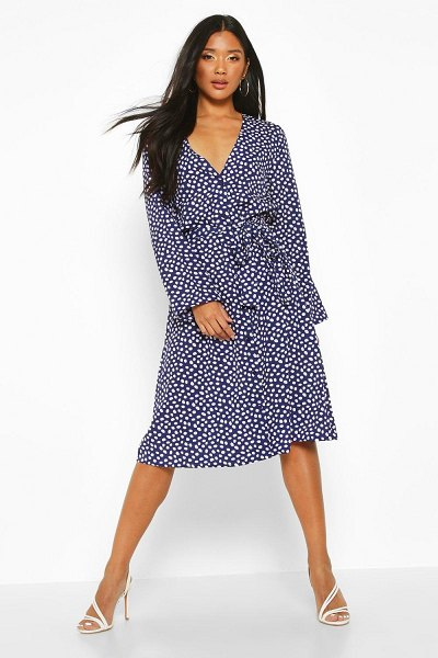 Boohoo Spot Button Front Belted Maxi Dress in navy
