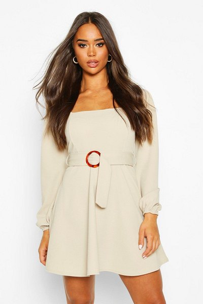 Boohoo Square Neck O-Ring Buckle Skater Dress in stone