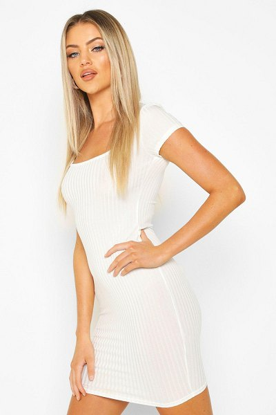 Boohoo Square Neck Ribbed Midi Dress in ivory
