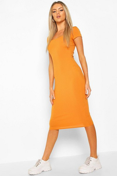 Boohoo Square Neck Ribbed Midi Dress in copper
