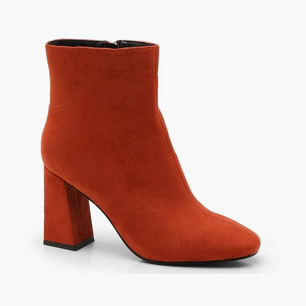 Boohoo Square Toe Ankle Boots in rust