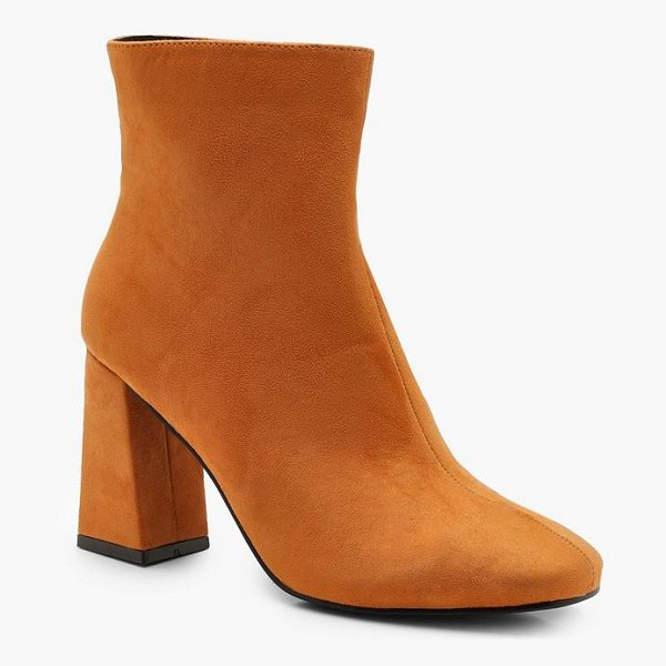 Boohoo Square Toe Ankle Boots in mustard