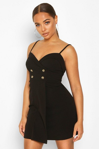 Boohoo Strappy Button Blazer Dress in black