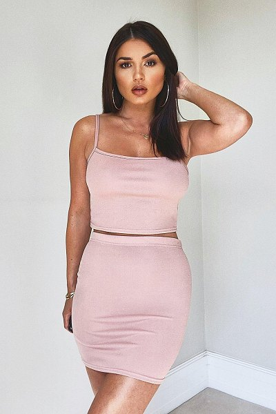 Boohoo Strappy Crop & Mini Skirt Co-Ord Set in blush